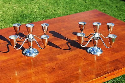 PAIR OF TOWLE Weighed Sterling Silver 5-arm Convertible Candelabras candle-stick
