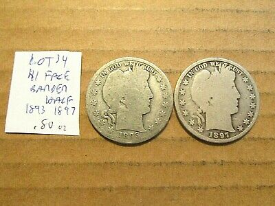 $1 Face~90% Silver~Barber Halfs~1893 and 1897~Free Shipping~.80 oz.~Lot 34!