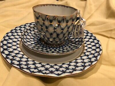 Lomonosov Cobalt Net and Gold Teacup, Saucer & Plate Made in Russia