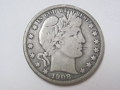 Circulated Uncertified Silver 1908 O Barber Half Dollar Ungraded Business Strike