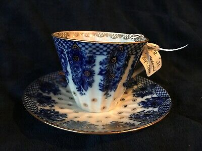 Lomonosov Russian Imperial cobalt blue and gold tea cup & saucer Made in Russia