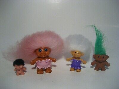 Vintage Troll Doll A Mini 2 Pencil Toppers 2 W Key Chains Mixed Lot Of 4 Ooak #4