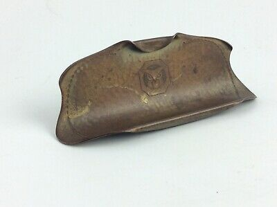 Antique Arts & Crafts Roycroft  hammered copper desk pen tray with Owl