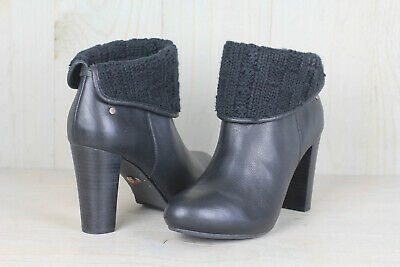 7fe6fc0198f UGG DANDYLION TRES Black Leather Knit Ankle Boots Womens Us 9.5 Nib
