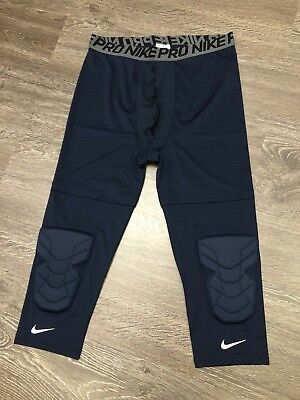 284fd9d833 Nike Pro 3/4 Compression Tights Basketball Knee Padding Navy 640933-419 3XL  NEW
