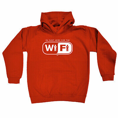 Funny Kids Childrens Hoodie Hoody - Im Just Here For The Wifi