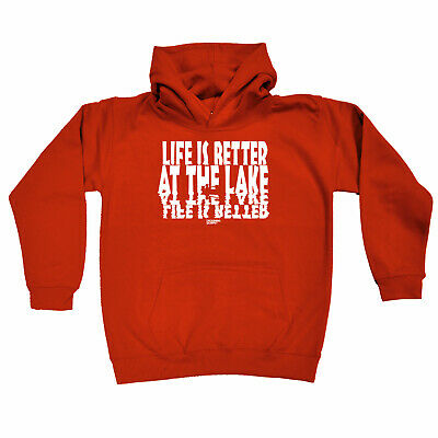 Fishing Kids Childrens Hoodie Hoody Funny - Fishing Life Is Better At The Lake