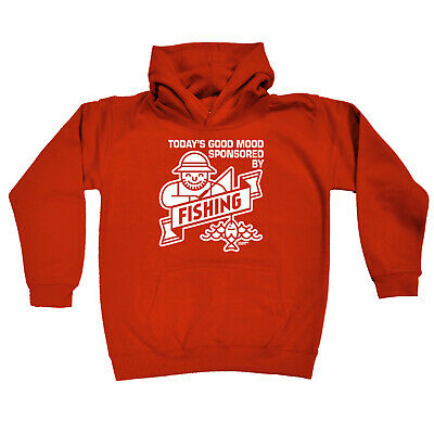 Fishing Kids Childrens Hoodie Hoody Funny - Todays Good Mood Sponsered By Fishin