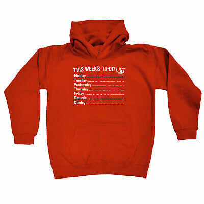 Fishing Kids Childrens Hoodie Hoody Funny - This Weeks To Do List Go Fishing
