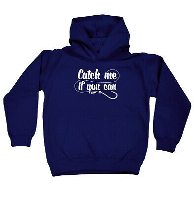 Fishing Kids Childrens Hoodie Hoody Funny - Fishing Catch Me If You Can
