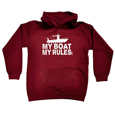 Fishing Kids Childrens Hoodie Hoody Funny - Fishing My Boat My Rules