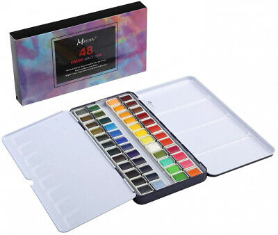 MEEDEN Art Watercolour Tin Palette Paint Case with 48 Colours Half Pan Paints