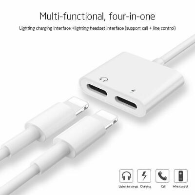 2in1 Dual Lightning Splitter Audio Earphone AUX Charger Adapter For Apple iPhone