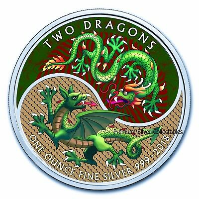 2018 Great Britain Two Dragons  - 1 Ounce Pure Silver Colorized coin !!