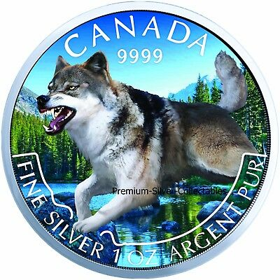 2018 Canada Predator Wolf Spring Colorized Series Coin - 1 Ounce Pure Silver!!