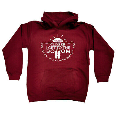 Scuba Diving Kids Childrens Hoodie Hoody Funny - The Closer I Get To The Bottom