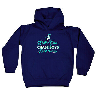 Skiing Snowboarding Kids Childrens Hoodie Hoody Funny - Some Girls Chase Boys I
