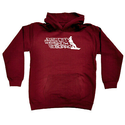 Skiing Snowboarding Kids Childrens Hoodie Hoody Funny - Everyday Is Awesome When