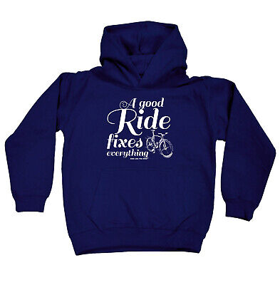 Cycling Kids Childrens Hoodie Hoody Funny - Cycling A Good Ride Fixes Everything