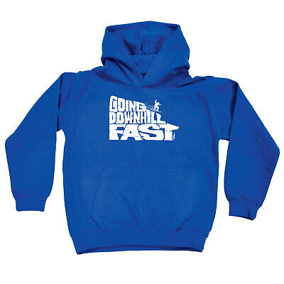 Skiing Snowboarding Kids Childrens Hoodie Hoody Funny - Going Downhill Fast Snow