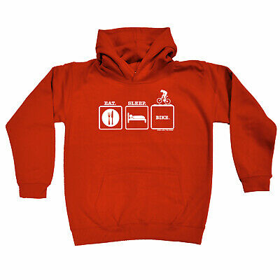 Cycling Kids Childrens Hoodie Hoody Funny - Cycling Eat Sleep Bike