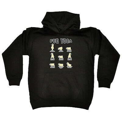 Funny Kids Childrens Hoodie Hoody - Pug Yoga Dog