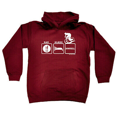 Cycling Kids Childrens Hoodie Hoody Funny - Cycling Eat Sleep Downhill