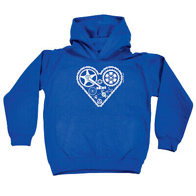 Cycling Kids Childrens Hoodie Hoody Funny - Cycling Heart Cycle Parts