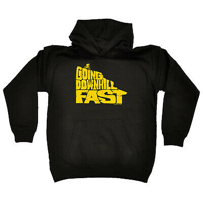 Cycling Kids Childrens Hoodie Hoody Funny - Cycling Going Downhill Fast