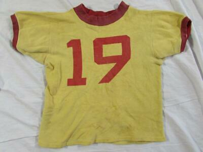 Vtg 40s 50s Short Sleeve Sweatshirt Athletic #19 Small Size Ink Print 2 Tone