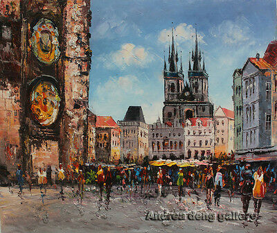 Original Hand Painted knife Prague Oil painting Wall art Deco on Canvas prg112