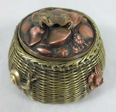 Antique JAPANESE Mixed Metals INKWELL Fishing Creel Basket CRABS, SNAIL