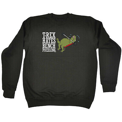 Funny Kids Childrens Sweatshirt Jumper - Trex Hates Bench Pressing Dinosaur T-Re