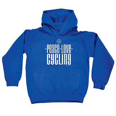 Cycling Kids Childrens Hoodie Hoody Funny - Cycling Peace Love Cycling