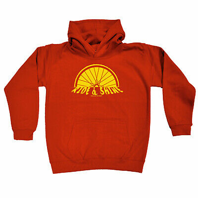 Cycling Kids Childrens Hoodie Hoody Funny - Cycling Ride And Shine