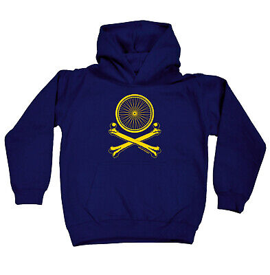 Cycling Kids Childrens Hoodie Hoody Funny - Cycling Wheel Crossbones