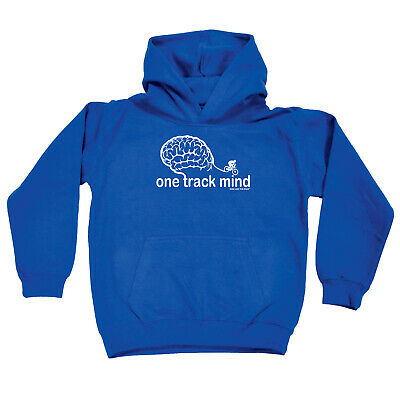 Cycling Kids Childrens Hoodie Hoody Funny - Cycling One Track Mind Bike