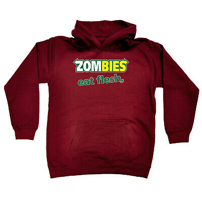 Funny Kids Childrens Hoodie Hoody - Zombies Eat Flesh