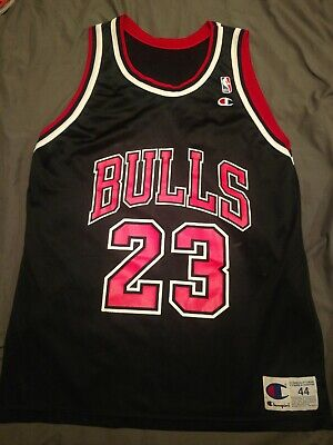 brand new ab445 53985 VTG 90S CHAMPION NBA Chicago Bulls #23 Michael Jordan Jersey Shirt Black 44  L