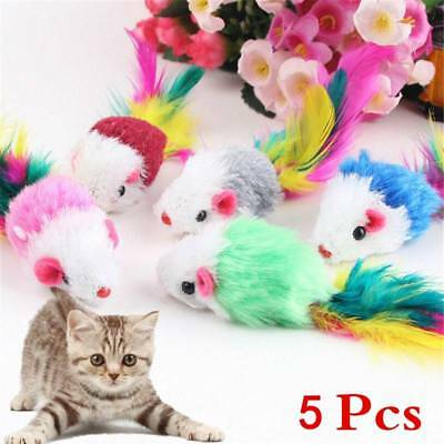 5pcs Funny Soft Fleece False Mouse Pet Cat Toys Colorful Feather Playing Toys