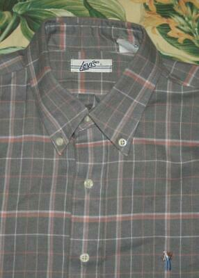 Vtg LEVIS FARMER Grey Plaid Embroidered Cowboy Shirt Made in USA Large L
