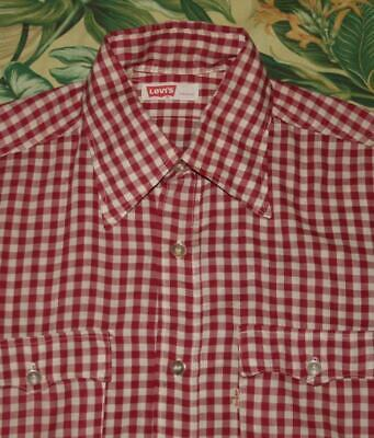 Vtg LEVIS BIG E Red Gingham Western Shirt Made In USA Small S