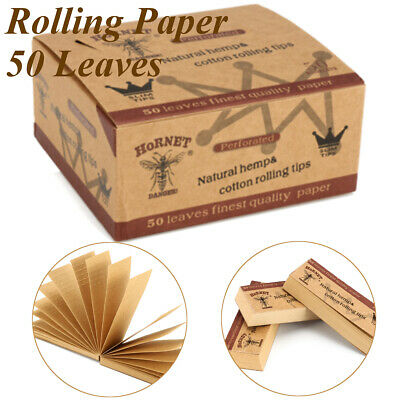 50 Booklet Raw Wide Rolling Paper Filter Tips Perforated Hemp Natural 60 * 21MM