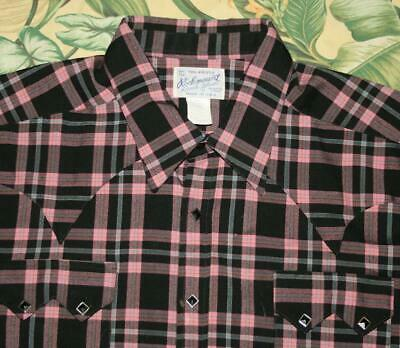Mens ROCKMOUNT Pink Black Western Pearl Snap Shirt Made In USA XL