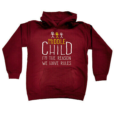Funny Kids Childrens Hoodie Hoody - Middle Child 3 Reason