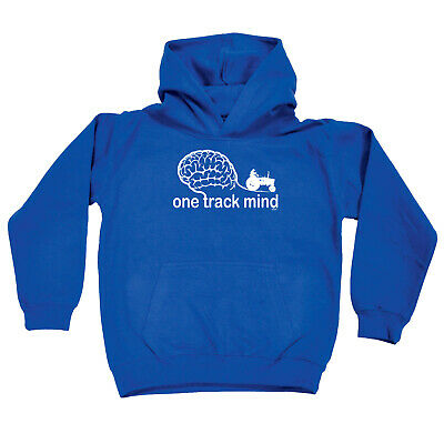 Funny Kids Childrens Hoodie Hoody - One Track Mind Tractor