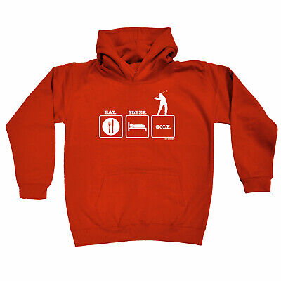 Golfing Kids Childrens Hoodie Hoody Funny - Eat Sleep Golf