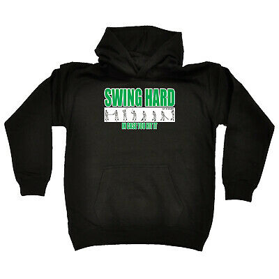 Golfing Kids Childrens Hoodie Hoody Funny - Golf Swing Hard In Case You Hit It