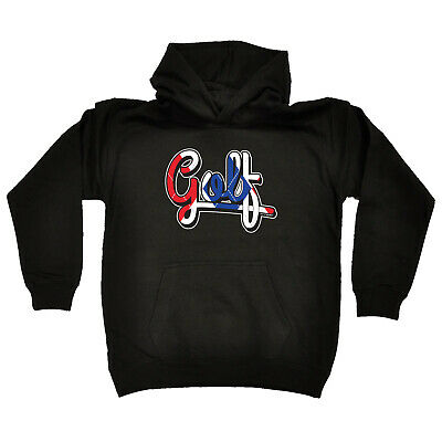 Golfing Kids Childrens Hoodie Hoody Funny - Red White Blue Golf