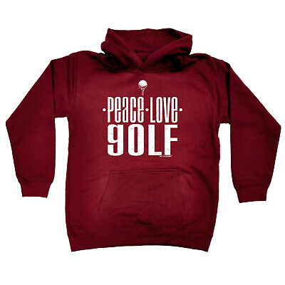 Golfing Kids Childrens Hoodie Hoody Funny - Peace Love Golf